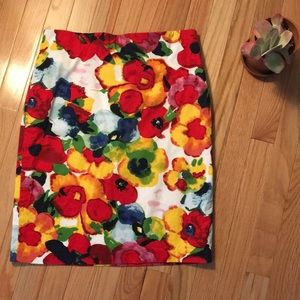 Carmen Marc Valvo Watercolor floral skirt!